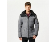 Arnault Herringbone Wool Effect Hooded Jacket RockGrey Blk